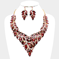 Marquise Oval Glass Stone Cluster Vine Bib Necklace