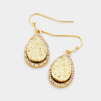 Rhinestone Trimmed Teardrop Faux Druzy Dangle Earrings