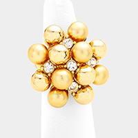 Stone Metal Ball Cluster Vine Stretch Ring