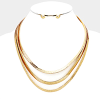 Triple Layered Flat Metal Chain Bib Necklace