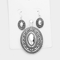 Antique Embossed Oval Magnetic Pendant Set