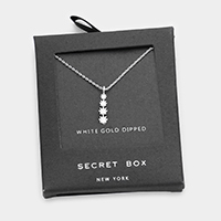Secret Box _ White Gold Dipped Layered Round Pendant Necklace
