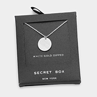 Secret Box _ White Gold Dipped Metal Disc Pendant Necklace