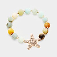 Semi Precious Beaded Rhinestone Starfish Stretch Bracelet