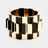 Geo Rectangular Metal Bar Stretch Bracelet