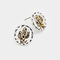 Metal Round Cactus Stud Earrings