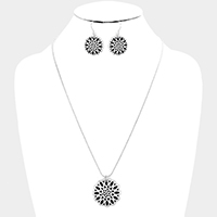 Antique Embossed Filigree Disc Pendant Necklace