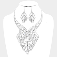 Marquise Geo Glass Bead Cluster Bib Evening Necklace