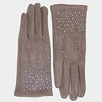 Solid Tiny Stones Touch Gloves