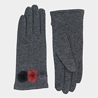Solid Smart Pom Pom Touch Gloves