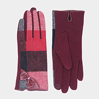 Solid Check Bow Detail Touch Gloves