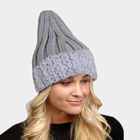 Faux Fur Trim Knit Beanie