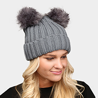 Double Faux Pom Pom Winter Beanie
