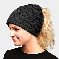 Solid Ponytail Stretchy Knit Beanie