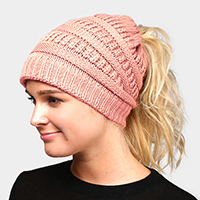 Solid Stretchy Hole Knitted Beanie
