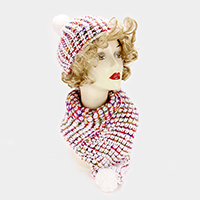 Soft Cable Knit Pom Pom Hat Scarf Set