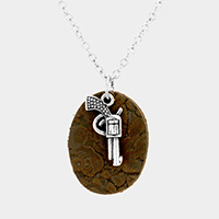 Oval Faux Leather Metal Gun Pendant Necklace