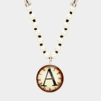 'A' Monogram Pearl Beaded Watch Printed Long Necklace