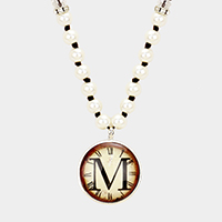 'M' Monogram Pearl Beaded Watch Printed Long Necklace