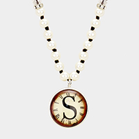 'S' Monogram Pearl Beaded Watch Printed Long Necklace
