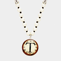 'T' Monogram Pearl Beaded Watch Printed Long Necklace