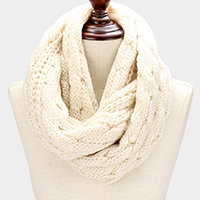 Solid Soft Cable Knit Infinity Scarf