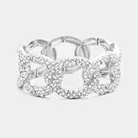Rhinestone Trim Oval Hoop Stretch Bracelet