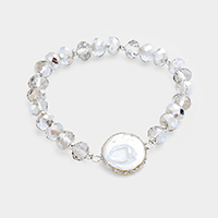 Beaded Round Mother of Pearl Stretch Bracelet