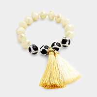Beaded Double Tassel Stretch Bracelet