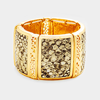 Rectangular Gold Trimmed Snake Skin Pattern Stretch Bracelet