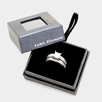 2PCS Cubic Zirconia Square Accented Ring