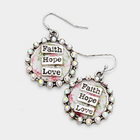 Faith Hope Love Stone Trim Patterned Round Dangle Earrings