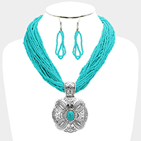 Multi Strand Seed Beaded Antique Metal Turquoise Necklace