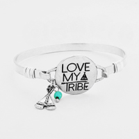 Love My Tribe Metal Disc Charms Hook Bracelet