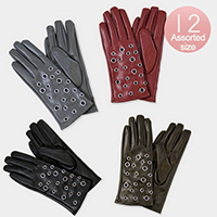 12PCS PU Leather Grommet Fur Lining Gloves