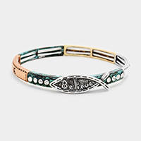 Believe Stone Metal Fish Hoop Stretch Bracelet