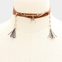 Metal Crescent Pendant Double Tassel Wrap Choker Necklace