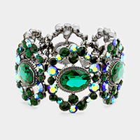 Marquise Oval Glass Crystal Accented Stretch Bracelet