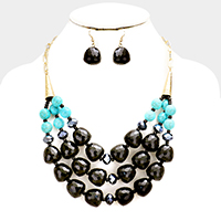 Triple Strand Faceted Bead Turquoise Bib Necklace