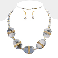 Beaded Wrapped Chain Octagon Bead Necklace