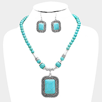 Beaded Antique Metal Rectangular Turquoise Necklace