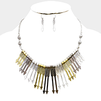 Metal Arrow Fringe Necklace