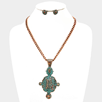 Geo Antique Metal Pendant Necklace