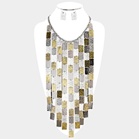Rectangular Metal Fringe Bib Necklace