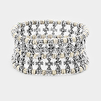 Antique Metal Cross Bead Stretch Bracelet