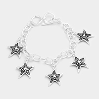 Antique Metal Starfish Charms Station Bracelet