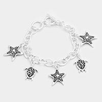 Antique Metal Starfish Turtle Charms Station Bracelet