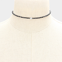 Pave Ball Accented Beaded Choker Necklace