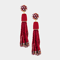 Beaded Ball Drop Seed Beaded Tassel Earrings