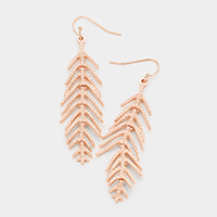 Brass Metal Leaf Dangle Earrings